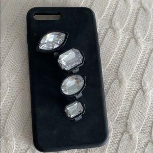 Accessories - Four finger ring rhinestone case iPhone 7+